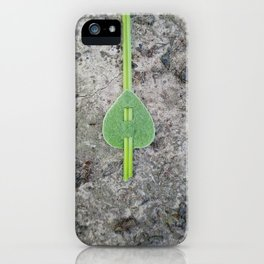 Green leaf on a line iPhone Case