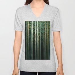 Painting trees in a dark forest 02 Unisex V-Neck