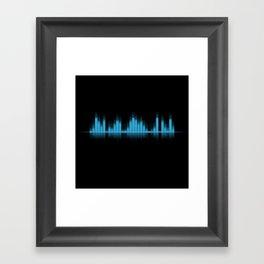 Cool Blue Graphic Equalizer Music on black Framed Art Print