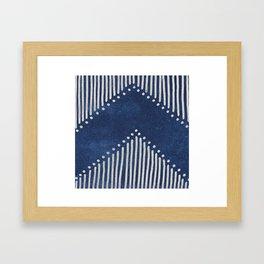 Indigo Deco Chev Framed Art Print