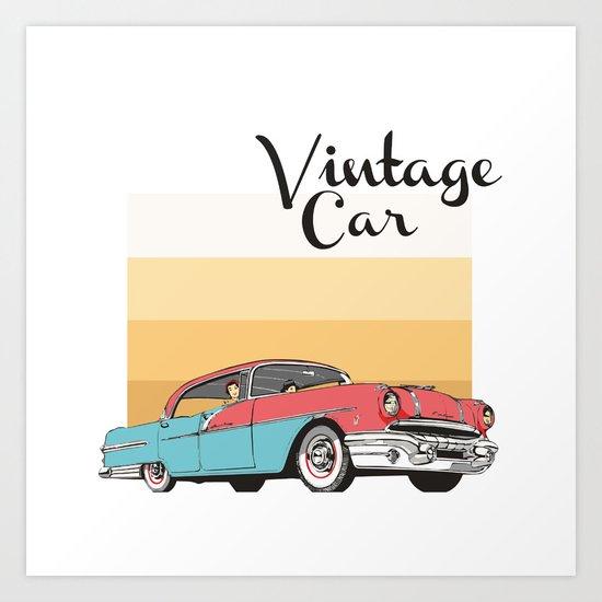Vintage Car Illustration Art Print