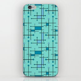 Intersecting Lines in Mint and Blues iPhone Skin