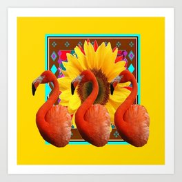 YELLOW BROWN SUNFLOWERS ART DECO 3 SAFFRON FLAMINGOS ART Art Print