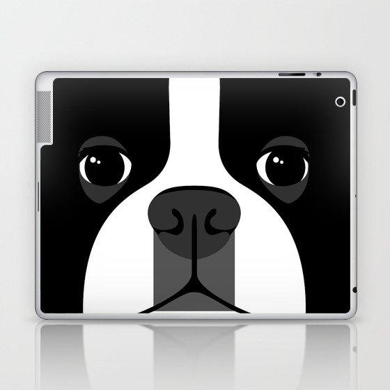 Boston Terrier Close Up Laptop & iPad Skin