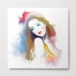 Watercolor Beautiful Girl V1 Metal Print