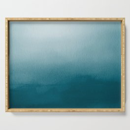 Tropical Dark Teal Inspired by Sherwin Williams 2020 Trending Color Oceanside SW6496 Watercolor Ombre Gradient Blend Abstract Art Serving Tray