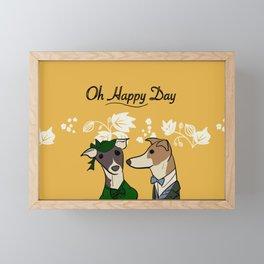 Oh happy day Vintage dog yellow Nancy & Paul Framed Mini Art Print