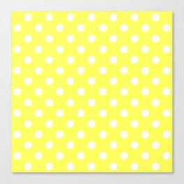 Polka Dots (White & Yellow Pattern) Canvas Print