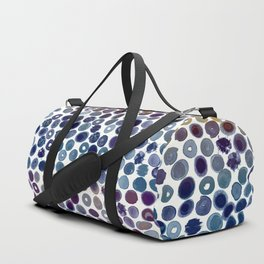 Watercolor Brush Strokes and Splashes Pattern in Cobalt, Violet and Ocher Duffle Bag