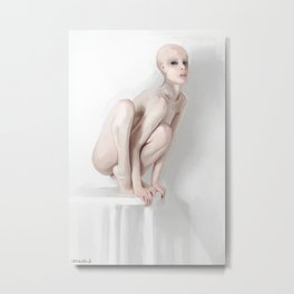 Nude Study - Perched Alien Metal Print