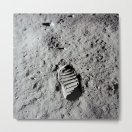 Apollo 11 - First Footprint On The Moon Metal Print
