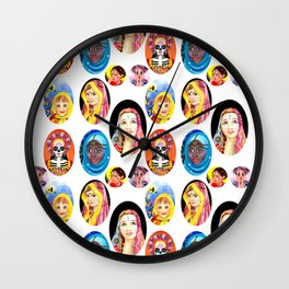 Ethnic Girls Hand Painted Pattern Wall Clock