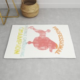Professional Poodle Grooming Champion Distressed 90s Style design Rug