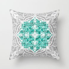 Oriental Nights Aqua Green Throw Pillow