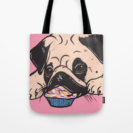 Pink Cupcake Pug Tote Bag