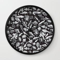 Aquatic I: White on Black Wall Clock