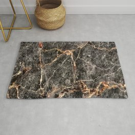 Luxurious Rose Gold Veins and Charcoal-Black Marble Rug