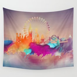 Colored London skyline Wall Tapestry