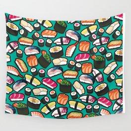 Sushi Aqua Wall Tapestry