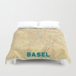 Basel Map Retro Duvet Cover