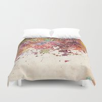 finland Duvet Covers featuring Helsinki by MapMapMaps.Watercolors