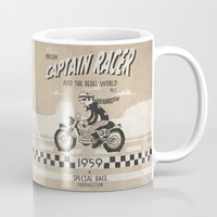 cafe racer Mugs featuring CAPTIAN RACER by Morselli Mattia
