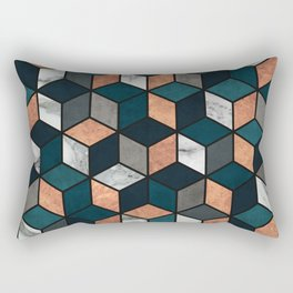 Copper, Marble and Concrete Cubes with Blue Rectangular Pillow