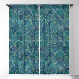 Dark Teal Beautiful Art Magenta Deco Marble Shimmer Mermaid Scales Gold Trim Seamless Pattern Blackout Curtain