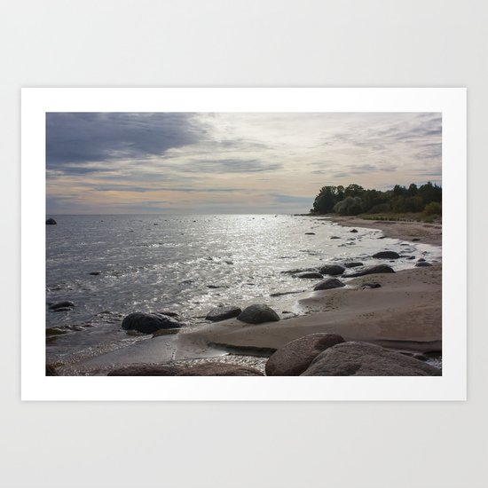 Seascape with stones Art Print