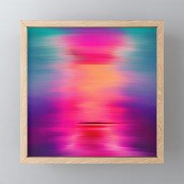 Abstract modern art pink violet teal brushstrokes Framed Mini Art Print