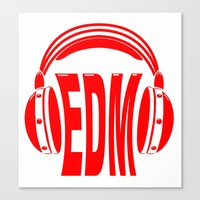 edm Canvas Prints featuring EDM Style Headphones by Mark