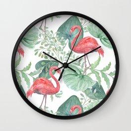 Pink flamingos. Wall Clock