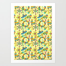 Mexican Fiesta Pinate Party Pattern Art Print