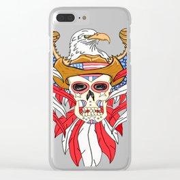 American Eagle Cowboy Sugar Skull Clear iPhone Case