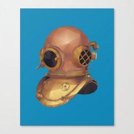 Retro Diver Helmet Polygon Art Canvas Print