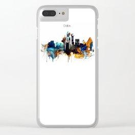 Dallas Texas watercolor print skyline Clear iPhone Case