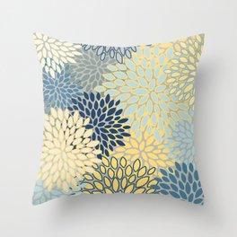 Modern, Abstract, Flower Garden, Blue, Yellow, Gray Throw Pillow
