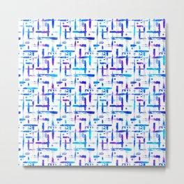 Blue brush stripes plaid on white Metal Print
