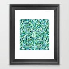 White and green leaves Framed Art Print