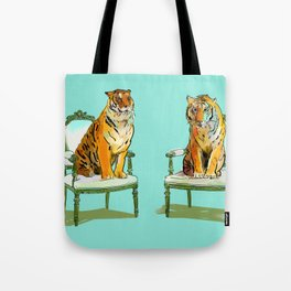 animals in chairs # 21 The Tigers Tote Bag