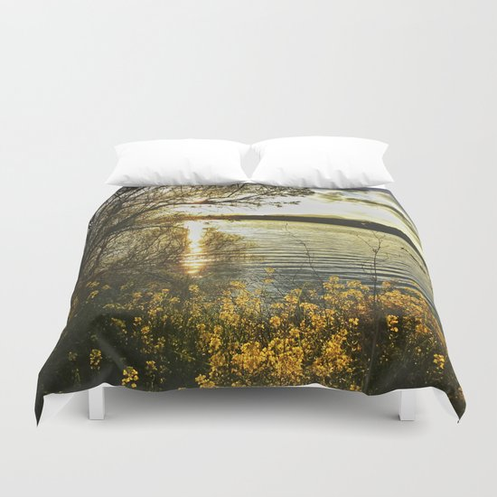 """Yellow flowers at sunset"" Duvet Cover"