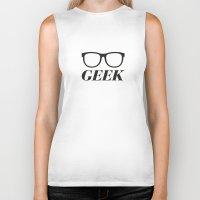 geek Biker Tanks featuring Geek by Faction 15