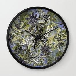 Butterfly on the Green Wall Clock