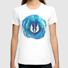 Star Wars Jedi Watercolor Womens Fitted Tee White LARGE