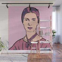 Emily Dickinson Portrait Pink Wall Mural