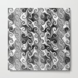 Black White Seamless Wave Spiral Abstract Pattern Metal Print