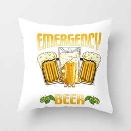 Funny In Case Of Emergency My Blood Type Is Beer Throw Pillow