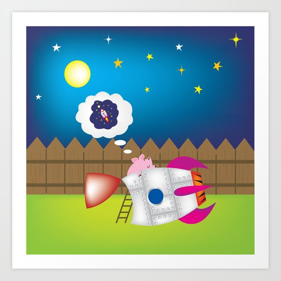 rocket pig part 1 Art Print