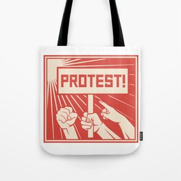 protest design - lots of furious people (man holding transparent, demonstrations) Tote Bag