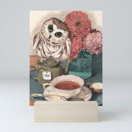 Morning Tea Owl Mini Art Print